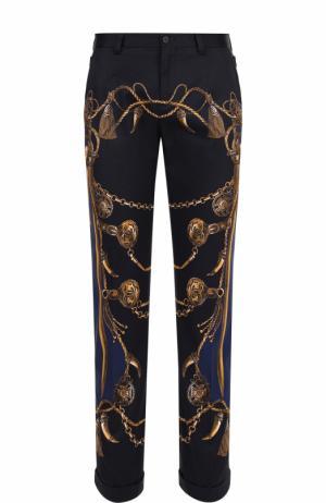 Хлопковые укороченные брюки прямого кроя с принтом Dolce & Gabbana. Цвет: темно-синий