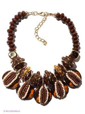 Колье Bijoux Land. Цвет: коричневый, бежевый, золотистый