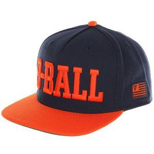 Бейсболка с прямым козырьком  B Ball Snapback Cap Navy/Flame K1X. Цвет: синий,оранжевый