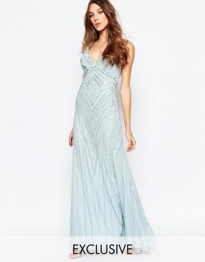 Frock and Frill Декорированное платье макси с глубоким вырезом. Цвет: синий