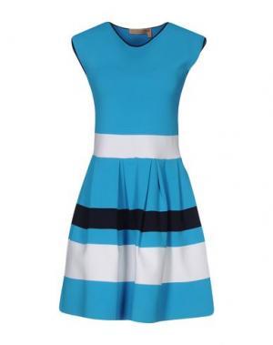 Короткое платье VICEDOMINI. Цвет: лазурный