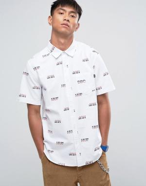 HUF Рубашка классического кроя с логотипом. Цвет: белый