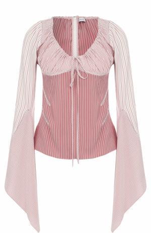 Шелковая блуза с V-образным вырезом J.W. Anderson. Цвет: розовый