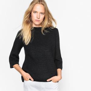 Пуловер с круглым вырезом из тонкого трикотажа SEE U SOON. Цвет: черный