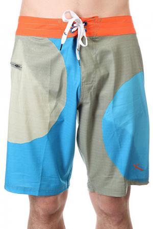 Шорты пляжные  Big Dot Blue Lost. Цвет: оранжевый,зеленый,голубой