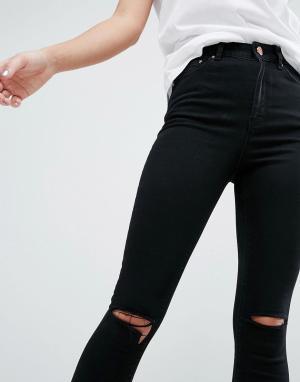 ASOS Черные рваные джинсы скинни RIDLEY. Цвет: черный