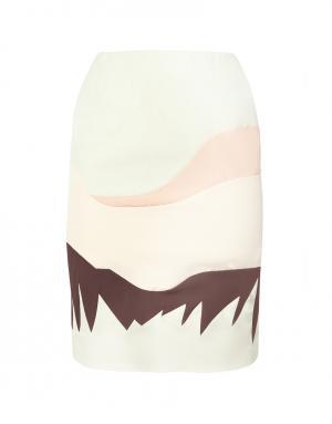 Шелковая юбка Vika Gazinskaya. Цвет: пастельный мятный, оранжевый, шоколадный