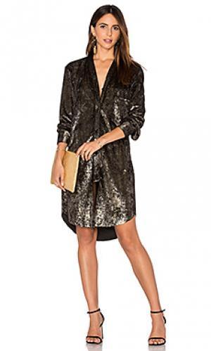 Вельветовое платье-рубашка Frankie. Цвет: металлический бронзовый