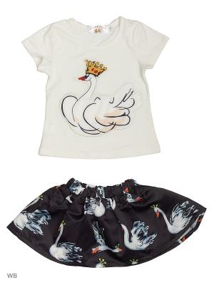Юбка и футболка Happy Bear. Цвет: белый, черный