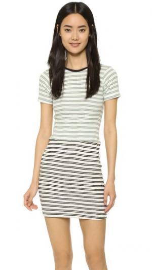 Комбинированное мини-платье с округлым вырезом Edith A. Miller. Цвет: синий/сельдерей и черный/натуральный