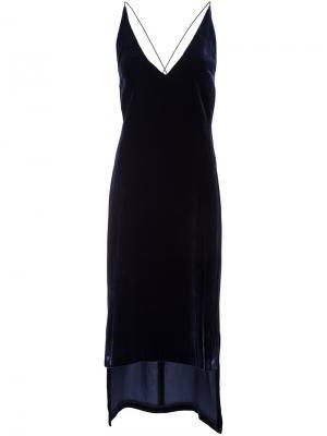 Тонкое бархатное платье-комбинация Dion Lee. Цвет: синий