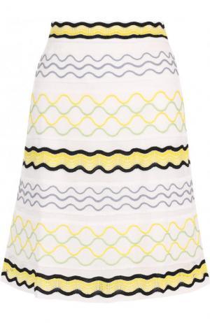 Расклешенная вязаная мини-юбка M Missoni. Цвет: белый