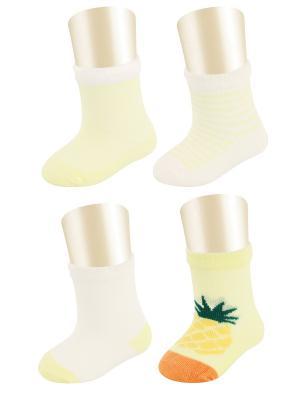 Носки, 4 пары Glamuriki. Цвет: оранжевый, желтый
