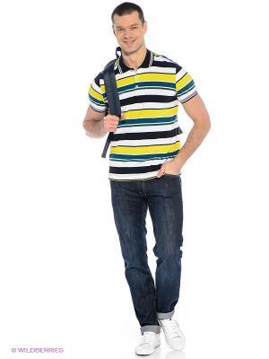 Футболка-поло SELA. Цвет: темно-синий, желтый, зеленый