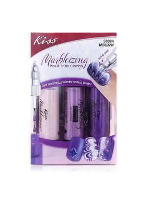 Набор фломастеров для нейлдизайна Kiss. Цвет: сиреневый, фиолетовый