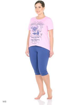 Костюм - футболка, бриджи NAGOTEX. Цвет: розовый, синий