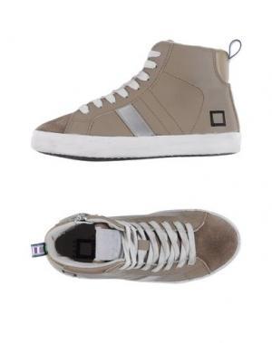Высокие кеды и кроссовки D.A.T.E. KIDS. Цвет: голубиный серый