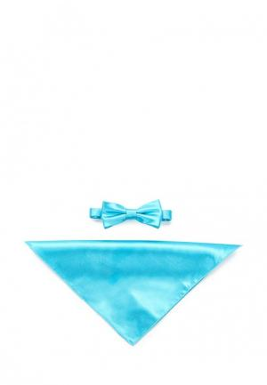 Комплект бабочка и платок Greg. Цвет: голубой
