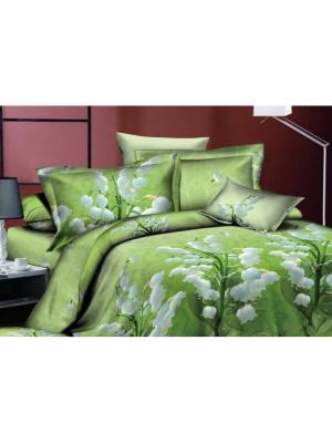 Комплект постельного белья 1,5сп, поплин BegAl. Цвет: зеленый