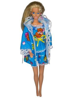 Одежда для сна куклы 29 см: халат, кофточка и шортики Модница.. Цвет: синий, белый, светло-желтый