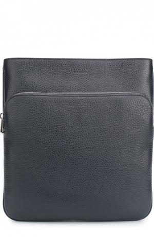 Кожаная сумка-планшет с внешним карманом на молнии Bally. Цвет: темно-синий