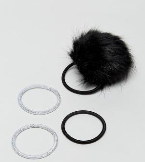 ASOS 4 резинки для волос с помпонами из искусственного меха. Цвет: мульти