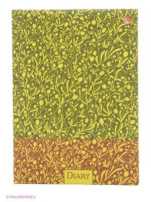 Ежедневник с поролоном А5-, 160 листов Цветочный узор Канц-Эксмо. Цвет: салатовый