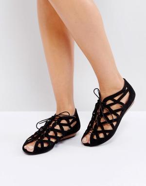 Office Кожаные сандалии с вырезами. Цвет: черный