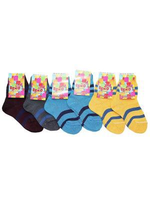 Носки 6пар Еско К7с11-1-20-3 цвет жел/син, син/т.син, сер/син, фиол/син. Цвет: желтый,темно-синий,синий