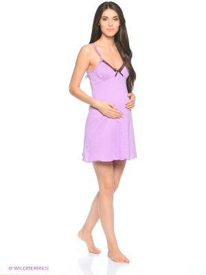 Ночная сорочка для беременных и кормящих Hunny Mammy. Цвет: сиреневый, коричневый