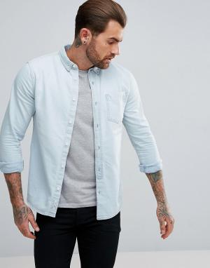 River Island Светлая джинсовая рубашка классического кроя. Цвет: синий