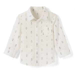 Рубашка с рисунком и длинными рукавами 1 мес.- 3 лет La Redoute Collections. Цвет: рисунок/экрю