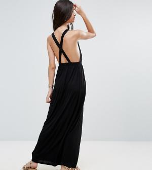 ASOS Petite Трикотажное пляжное платье макси. Цвет: черный