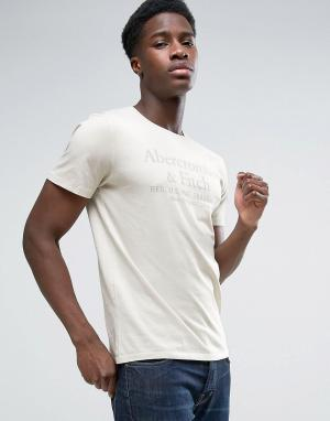 Abercrombie & Fitch Серая обтягивающая футболка с однотонным принтом. Цвет: серый