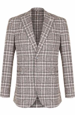 Однобортный пиджак из смеси хлопка и шерсти L.B.M. 1911. Цвет: светло-серый