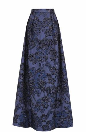 Юбка-макси с фактурной цветочной отделкой St. John. Цвет: темно-синий