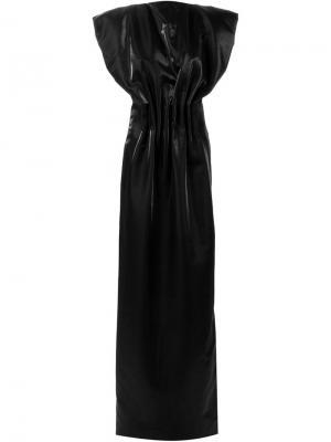 Вечернее платье с присборенной талией Zaid Affas. Цвет: чёрный