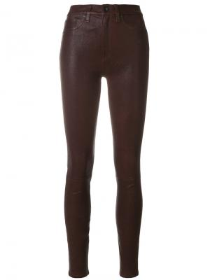 Кожаные брюки скинни с завышенной талией Rag & Bone. Цвет: красный