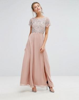 Frock and Frill Платье макси с декорированным пайетками топом и расклешенными рукавами. Цвет: розовый