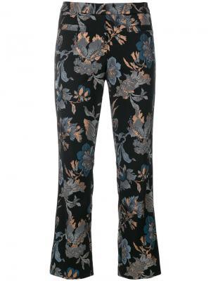 Укороченные брюки с цветочной вышивкой пайетками Cambio. Цвет: чёрный