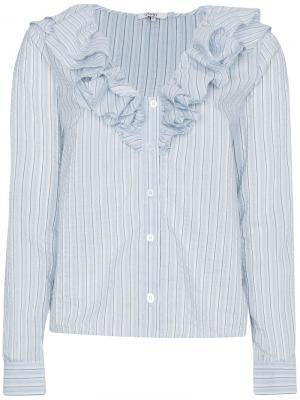 Рубашка Charron в полоску с оборками Ganni. Цвет: белый