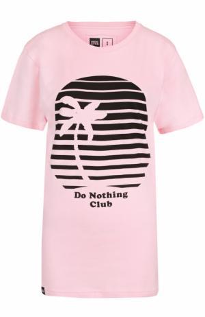 Удлиненная футболка с контрастным принтом Dedicated. Цвет: розовый