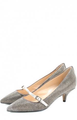 Кожаные туфли со стразами на низком каблуке No. 21. Цвет: серый