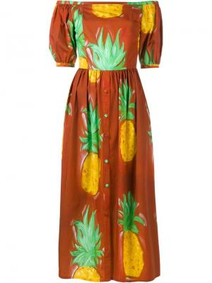 Платье Sierva с принтом ананасов Tata Naka. Цвет: коричневый