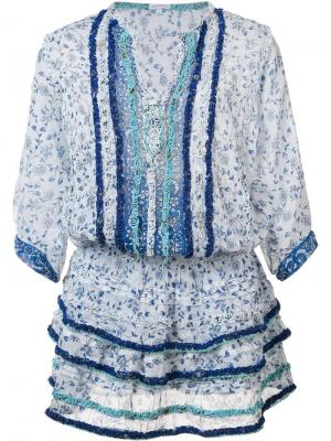 Платье с рюшами Poupette St Barth. Цвет: белый