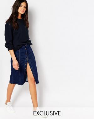 Northmore Denim Джинсовая юбка-карандаш на пуговицах. Цвет: синий