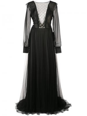 Прозрачное платье в пол Monique Lhuillier. Цвет: чёрный