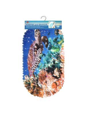 Коврик для ванной Море (диз.1) 69*39см МультиДом. Цвет: синий, рыжий