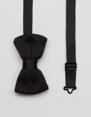 7X Трикотажный галстук-бабочка в упаковке. Цвет: черный