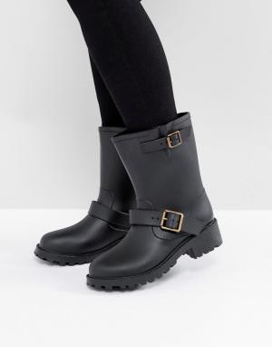 Juju Резиновые байкерские сапоги с пряжками Bonnie. Цвет: черный